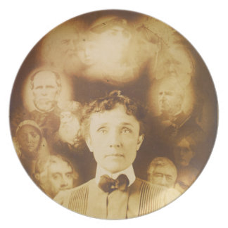 Spirit Photograph of Ghosts Surrounding a Woman Melamine Plate