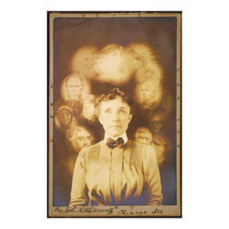 Spirit Photograph of Ghosts Surrounding a Woman