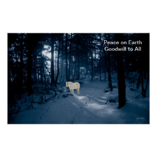 Spirit Pony in a Blue Wood Poster ChristmasHoliday