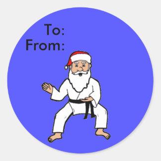 Spirit Santa Martial Arts Gift Tags Classic Round Sticker