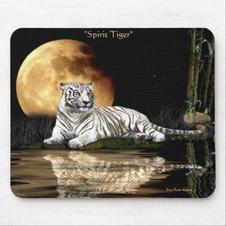 Spirit Tiger & Moon White Big Cat Wildlife Mouse Pad