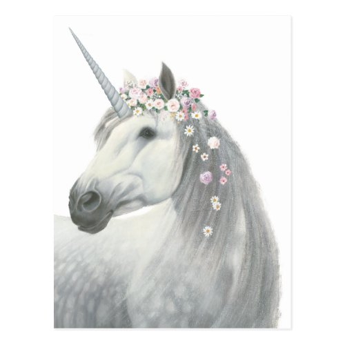 Spirit Unicorn with Flowers in Mane Postcard