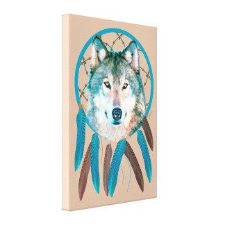 Spirit Wolf Dream Catcher Custom Wrapped Canvas