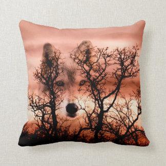 Spirit wolf face throw pillow