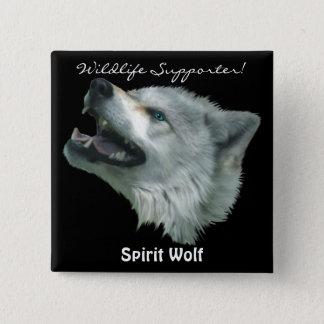 SPIRIT WOLF  Grey Wolf Wild Animal Button