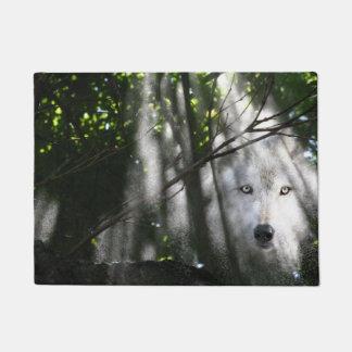 Spirit wolf in the woods doormat