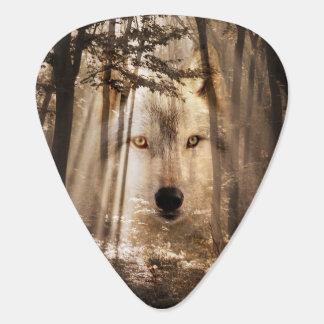 Spirit wolf in woods guitar pick