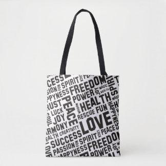 Spirit Words / Affirmations black + your backgr. Tote Bag