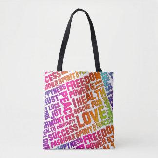 Spirit Words / Affirmations colored + your backgr. Tote Bag
