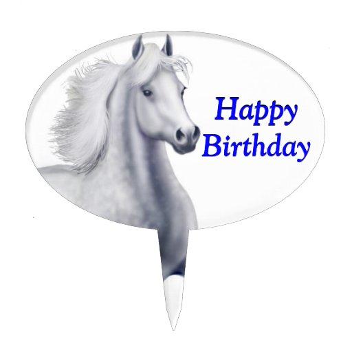 Spirited Gray Horse Customizable Cake Pick