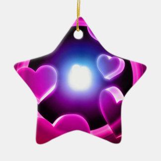 Spirited Hot Pink Glow Hearts Ceramic Ornament