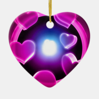 Spirited Hot Pink Glow Hearts Ceramic Ornament