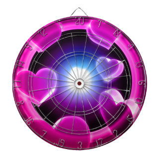 Spirited Hot Pink Glow Hearts Dartboard With Darts