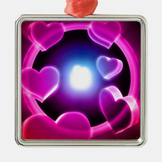 Spirited Hot Pink Glow Hearts Metal Ornament