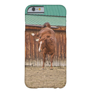 Spirited Sorrel Horse Bucking by a Barn Barely There iPhone 6 Case