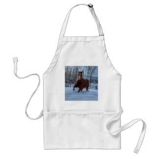 Spirited Sorrel Horse in Snow for Horse-lovers Apron