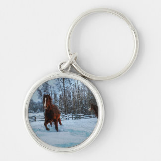 Spirited Sorrel Horse in Snow for Horse-lovers II Keychain