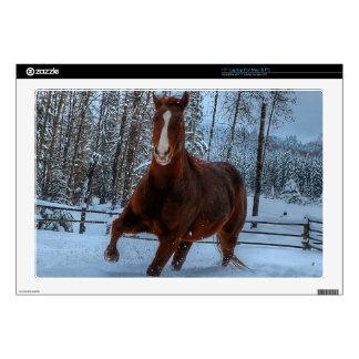 "Spirited Sorrel Horse in Snow for Horse-lovers 17"" Laptop Skin"