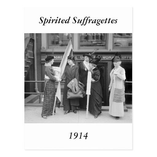 Spirited Suffragettes, 1914 Postcard