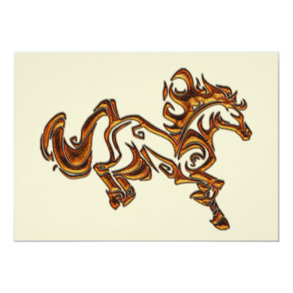 Spirited Tribal Tattoo Horse 5x7 Paper Invitation Card