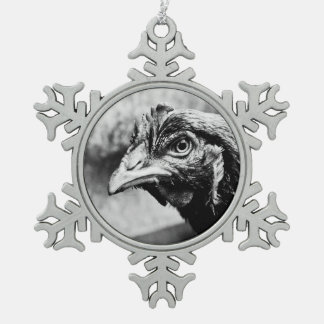 spirits and chickens snowflake pewter christmas ornament