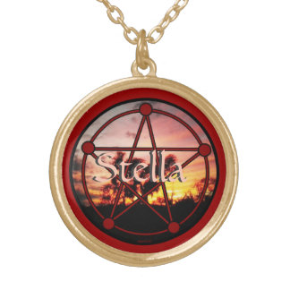 Spirits of Samhain Pentacle Round Pendant Necklace