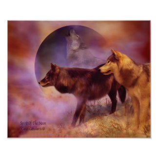Spirits Of The Moon Wolf Art Poster/Print Poster