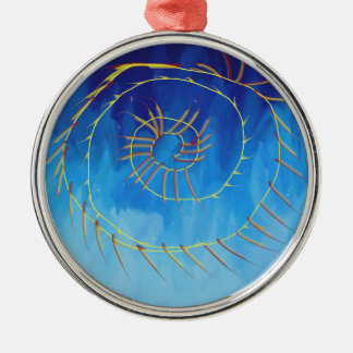 Spiritual abstract expressionist nature blue yello metal ornament