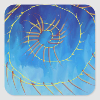 Spiritual abstract expressionist nature blue yello square sticker