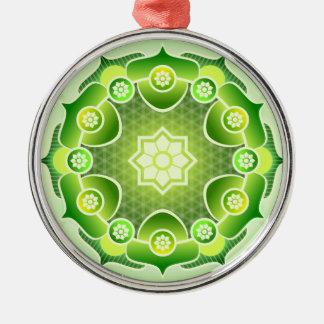 Spiritual Abstract Green Mandala Heart Chakra Metal Ornament