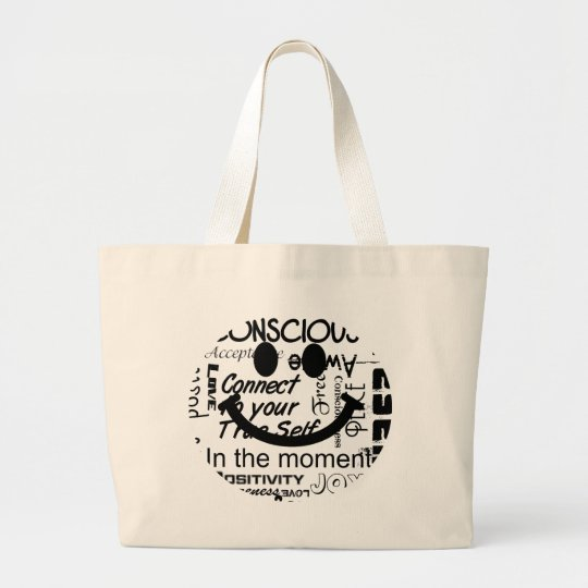 Spiritual affirmations smiley large tote bag
