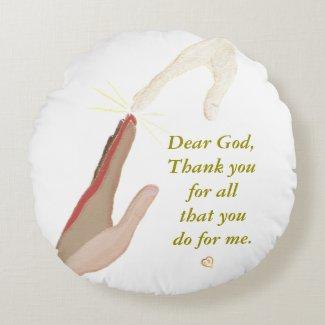 Spiritual Energy Hand Universal Hand Prayer Pillow Round Pillow