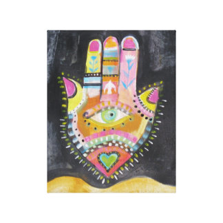 "Spiritual Hamsa Painting ""HAND of GOD"" Art Stretched Canvas Print"