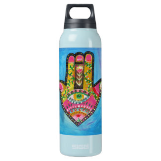 "Spiritual Hamsa Painting ""HAND of GOD"" Art Insulated Water Bottle"