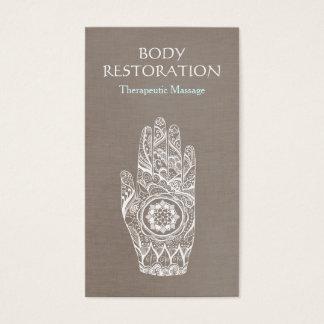 Spiritual Healer Henna Lotus Tattoo Hand 3 Business Card