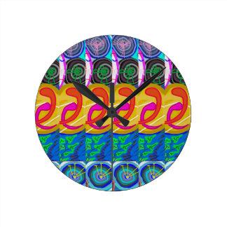 SPIRITUAL Hug:  Cosmic Discs Spiral Circles Deco Round Clock