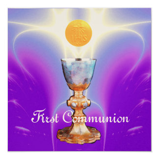 SPIRITUAL LIGHT 1st Holy Communion / Christening 5.25x5.25 Square Paper Invitation Card