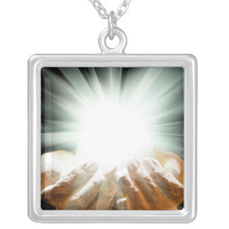 Spiritual light in cupped hands square pendant necklace