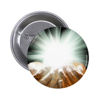 Spiritual light in cupped hands pinback button
