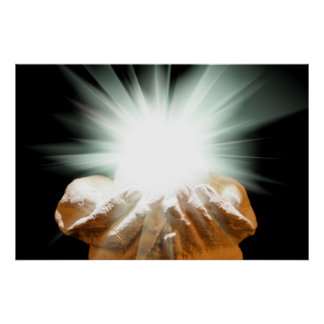 Spiritual light in cupped hands poster