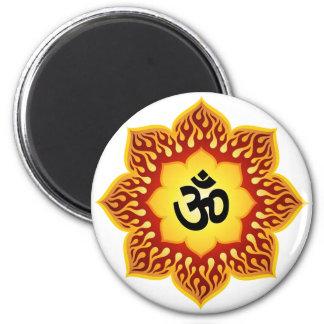 Spiritual Lotus Om Design 2 Inch Round Magnet