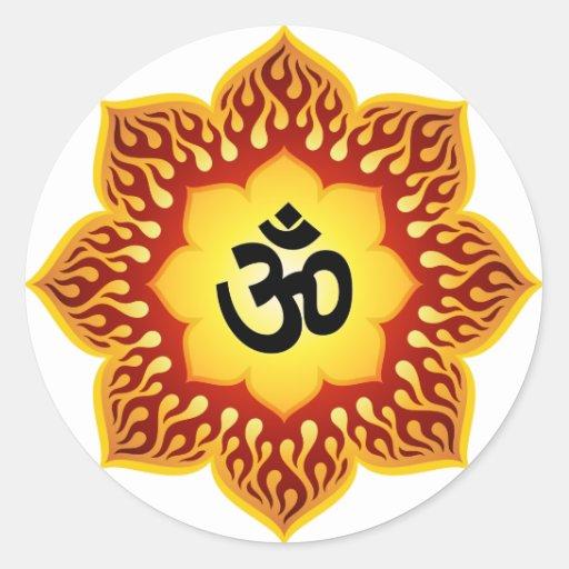 Spiritual Lotus Om Design Classic Round Sticker
