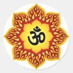 Spiritual Lotus Om Design Round Stickers