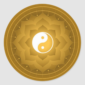 Spiritual Lotus Yin Yang Classic Round Sticker