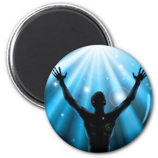Spiritual man with arms raised up concept fridge magnets