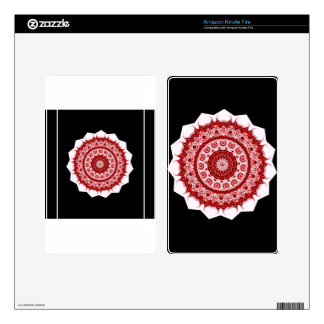 Spiritual Morrocan Red and White Tile STAR design Kindle Fire Skin