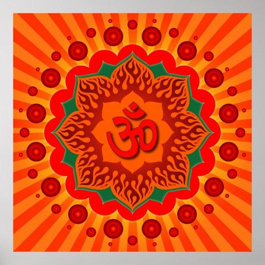 Spiritual Om On Lotus Design Poster