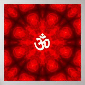 Spiritual Om On Mandala Background Poster