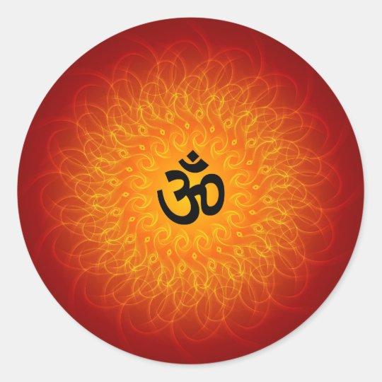 Spiritual Om On Mandala Classic Round Sticker