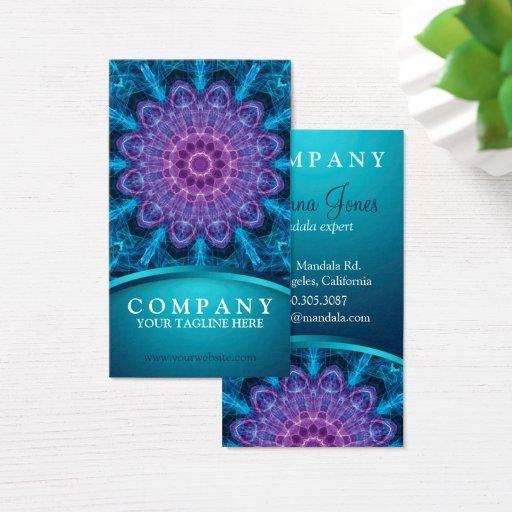 Spiritual purple flower, sea of blue business card